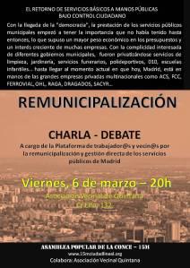 Cartel Charla-Debate remunicipalización. Viernes 6 de marzo 20h. AV Quintana