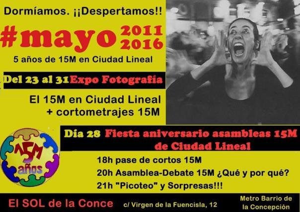 Cartel Fiesta aniversario 15 M